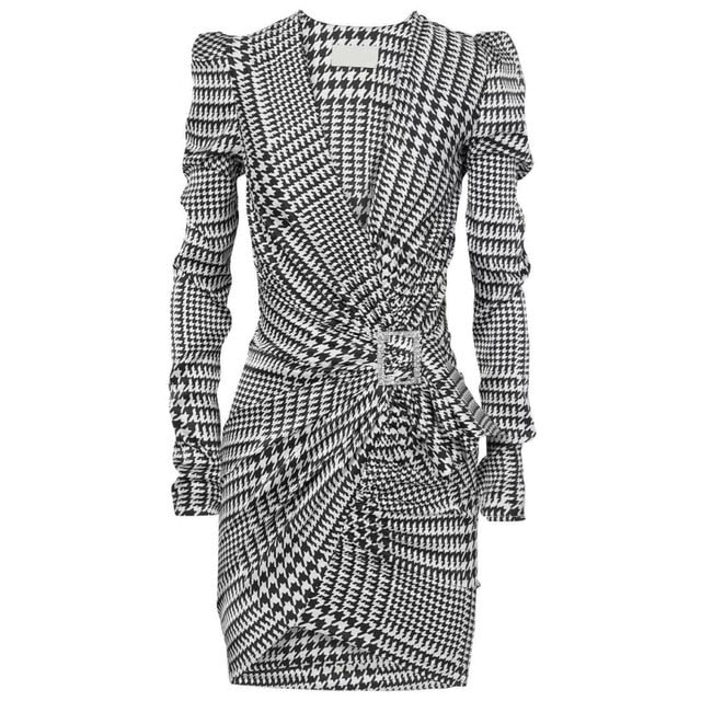 Elegant Plaid Ruched Slim Dress