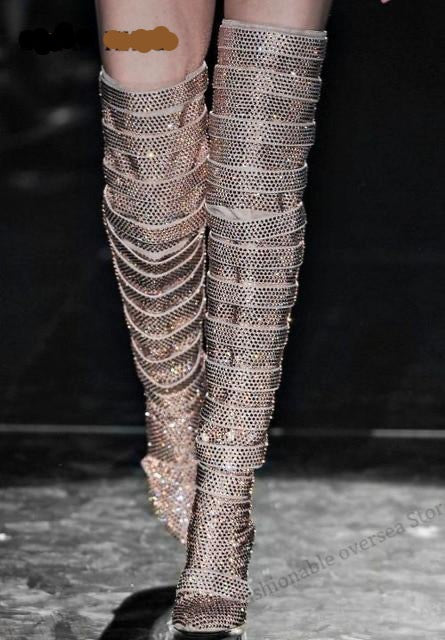 2020 Luxurious Rhinestone Over the Knee Boot