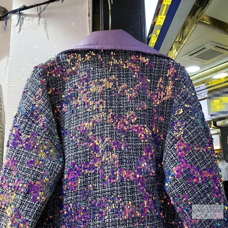 2020 2 pcs Sequined Tweed Skirtsuit