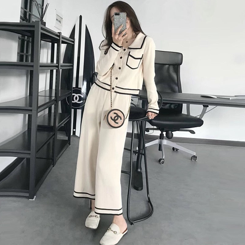 2 pcs Long Sleeve Knot pocket  Sweater and Wide leg Pant
