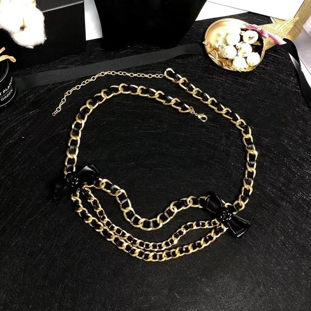 Vintage Camellia Leather Link Chain Belt or Necklace