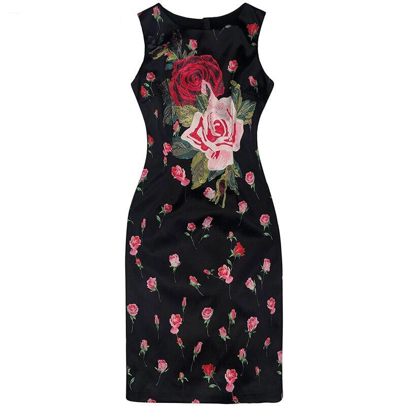 Designer Embroidery Rose Floral Print Dress