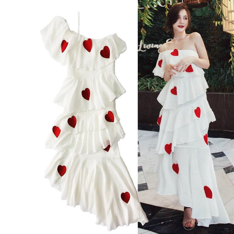Lover Heart Embroidery Elegant Sexy Off Shoulder Ruffles Dress