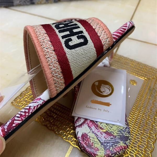 Embroidery Genuine Leather Slipper
