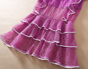 Runway  High Quality Tulle Lace Ruffle Off Shoulder Fishtail Long Dress