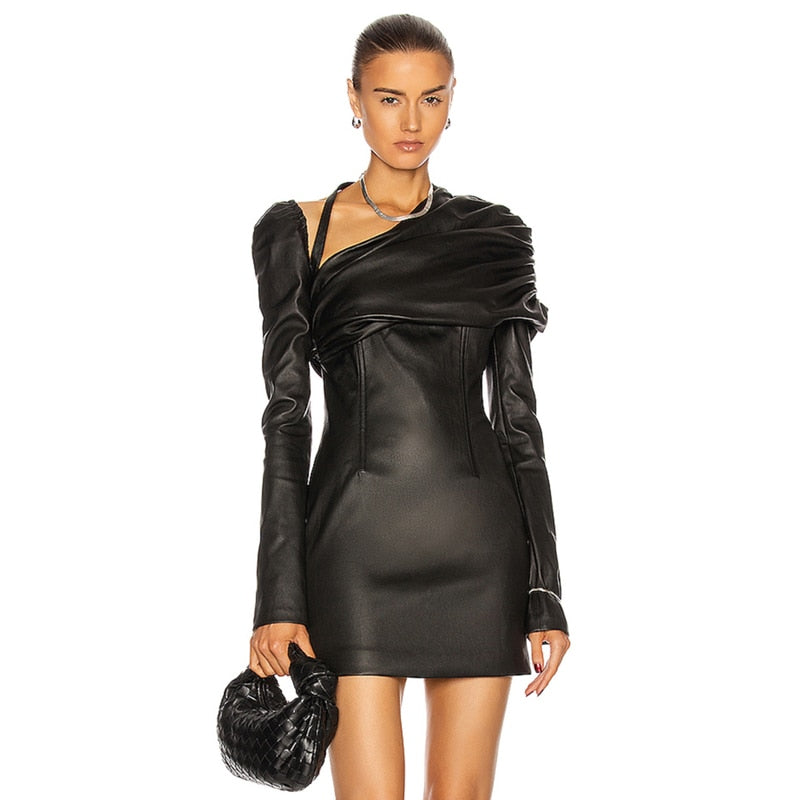 Elegant Black PU Leather Dress