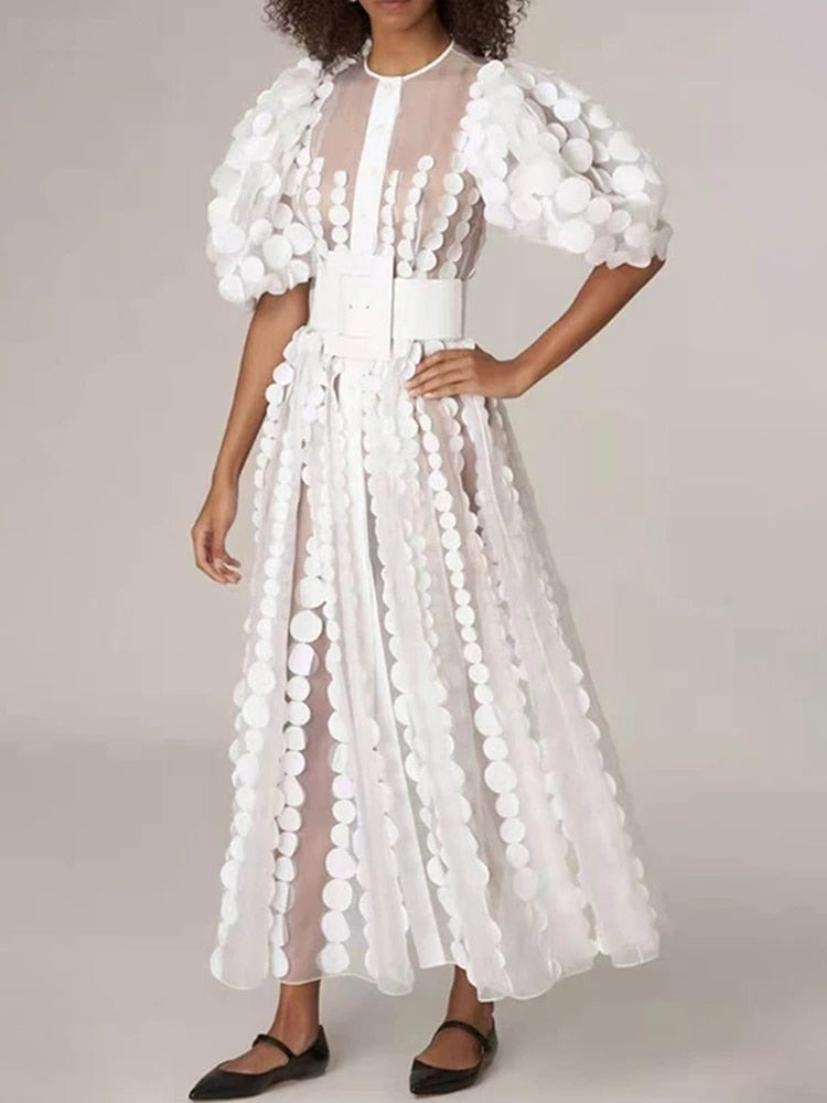 Gauze Appliqué Pleated Dress