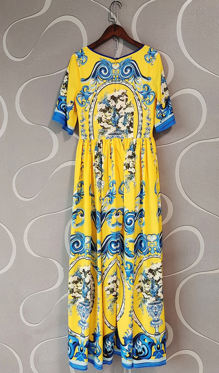 Elegant Yellow Long Design Runway Vintage Flowers Print Dress