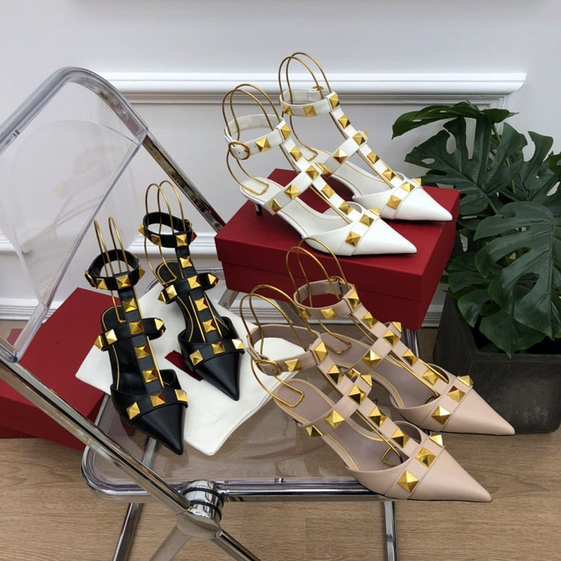 Genuine Leather High-heeled Flat Rivet Decoration Pointed Toe Sandals