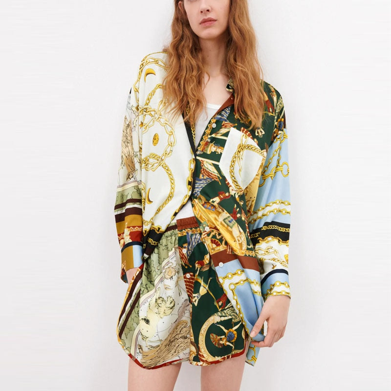 Oversized Patchwork Print Vintage Loose Blouse and Skirt
