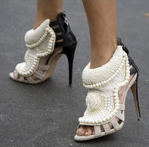 Handmade Pearl Beaded Leather Boot Sandal