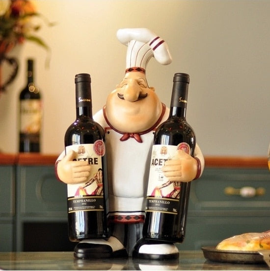 Chef Wine Holder Statue