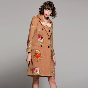 High Quality Embroidery Heart Flower Wool Coat
