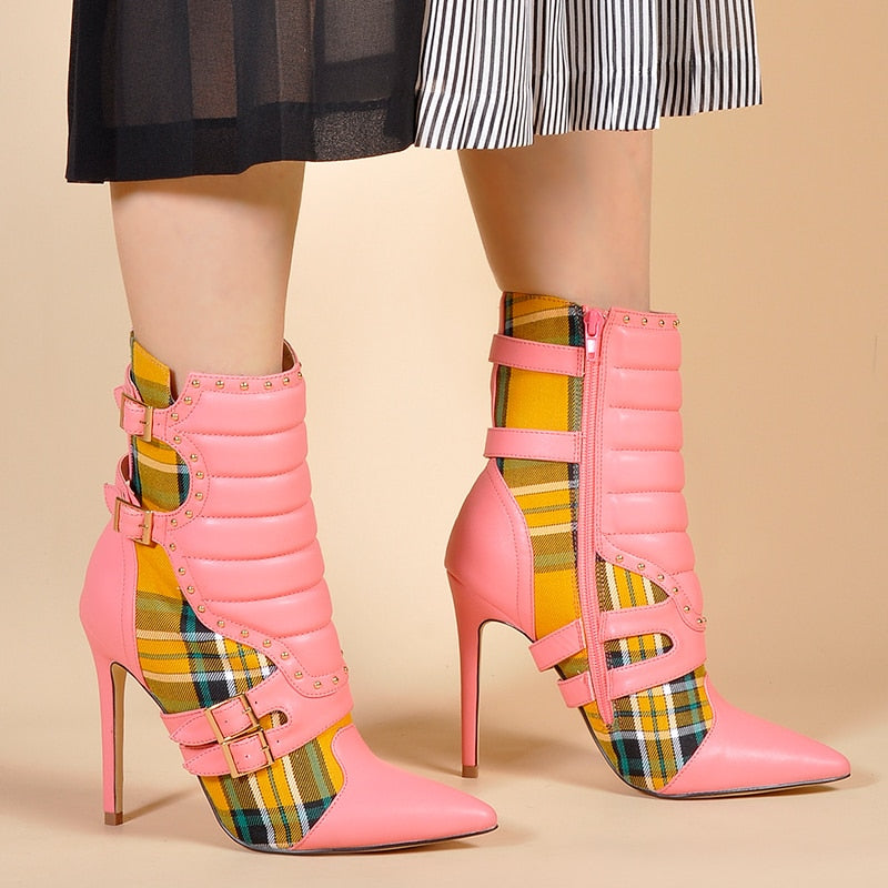 Ankle Red Plaid Boot