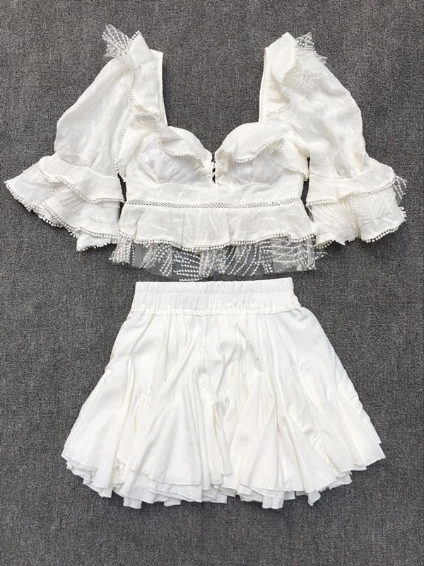 White Mesh Embroidery Blouse/ Skirt