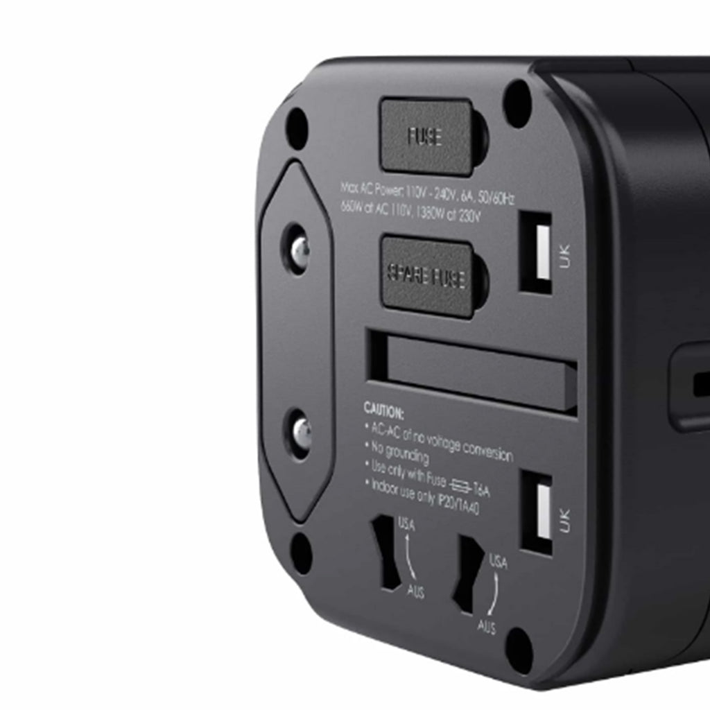 Aukey Universal Travel Adapter With USB-C and USB-A Ports (PA-TA01) Black