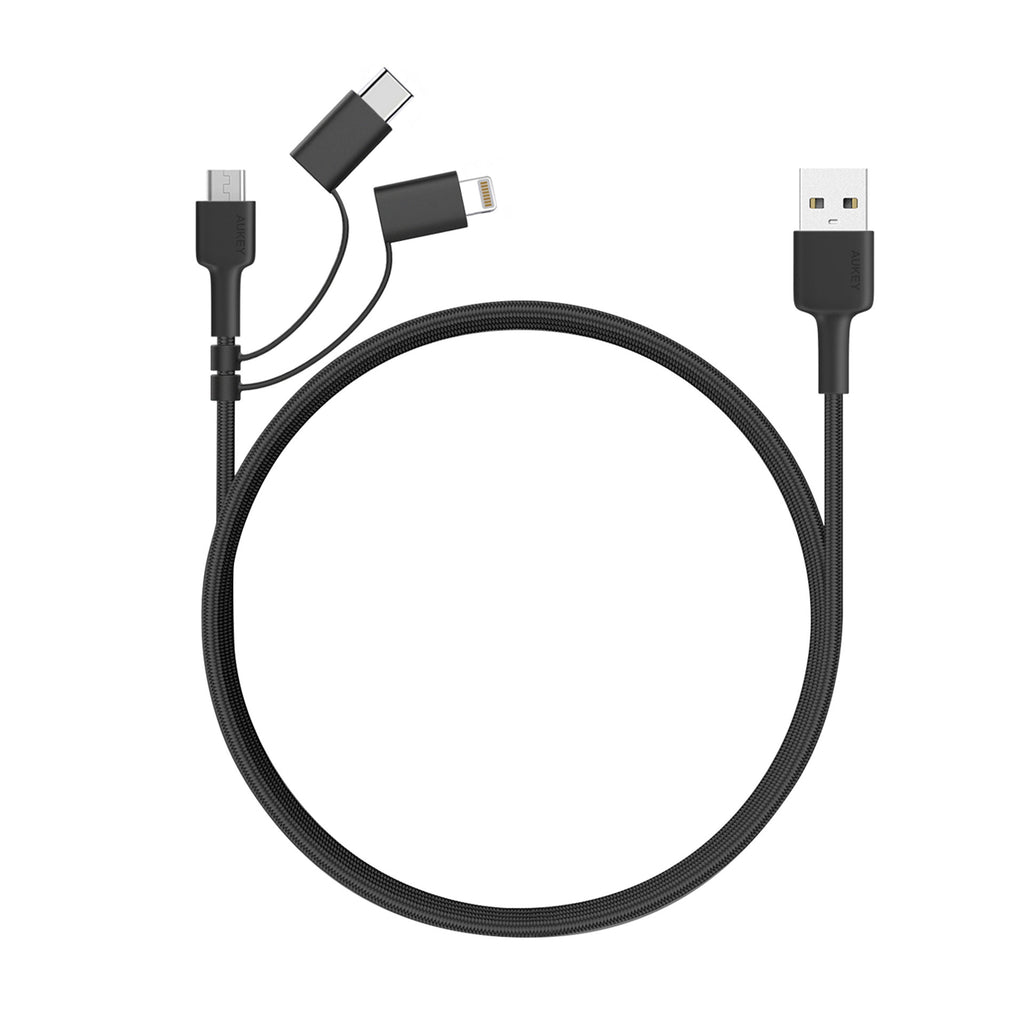 Aukey 3 In 1 Mfi Lightning Cable With Micro Usb & Usb C Cable (CB-BAL5)
