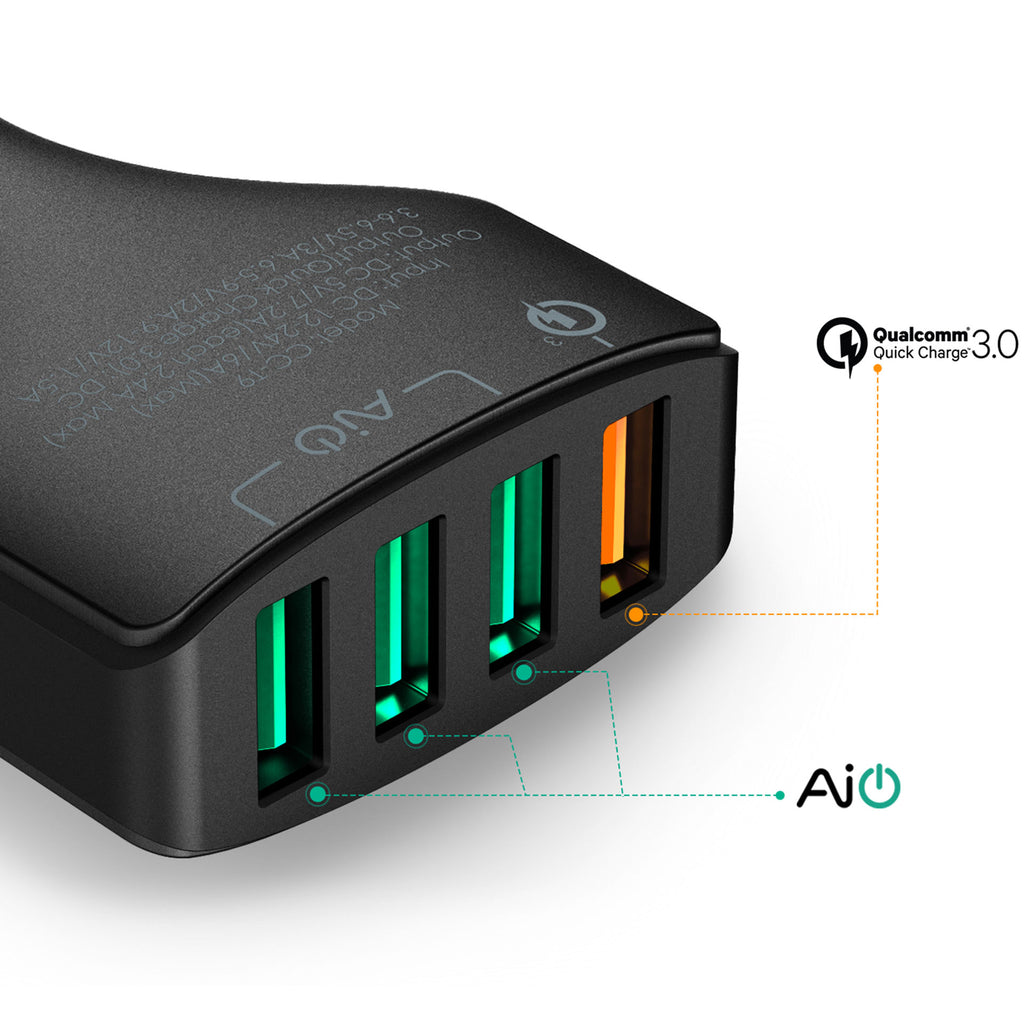 Aukey Quad Port Car Charger  with Quick Charge 3.0 (CC-T9)
