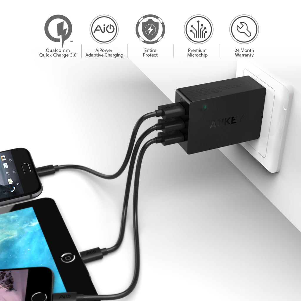 Aukey 3-Port USB Wall Charger with Quick Charge 3.0 (PA-T14)