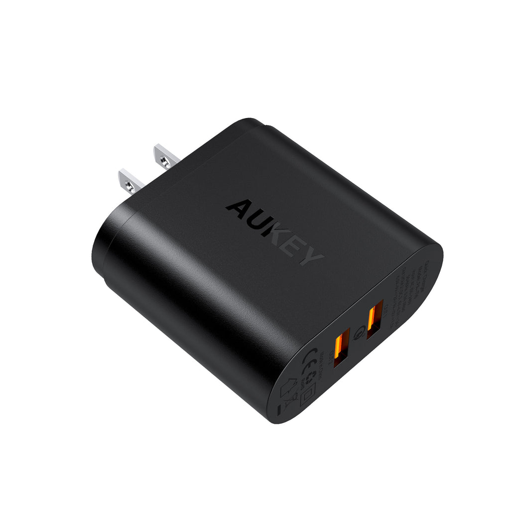 Aukey Dual-Port USB Wall Charger Qualcomm Quick Charge 3.0 With 1m Micro USB Cable  (PA-T16)