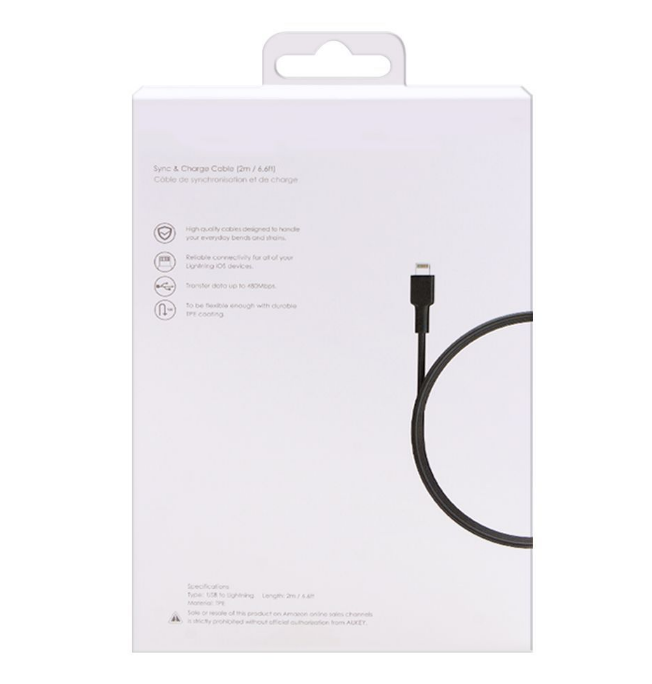 Aukey MFi USB-A to Lightning Cable (6.6ft) (CB-BAL2)
