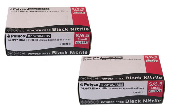 Bodyguard Black Nitrile PF Tatoo Mechanic Disposable Gloves Small 2x Box of 100