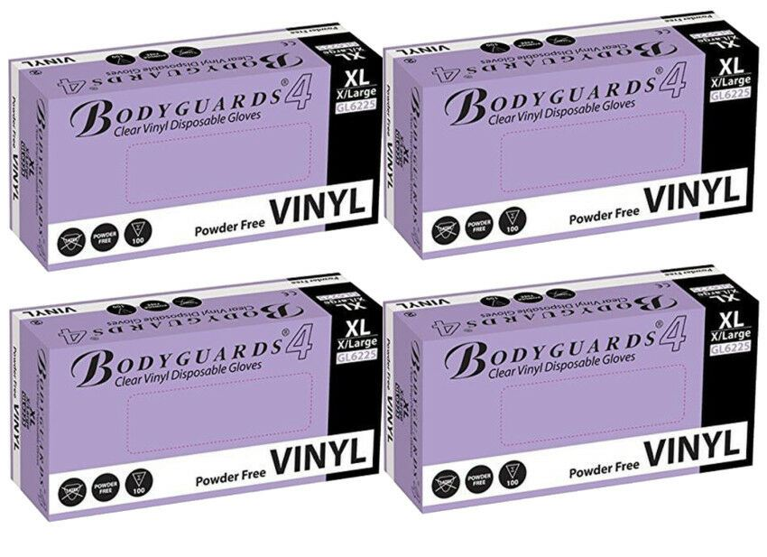 Bodyguards Clear Vinyl PF Dsp. Gloves Medical Cleaning Extra Large 4x Box of 100
