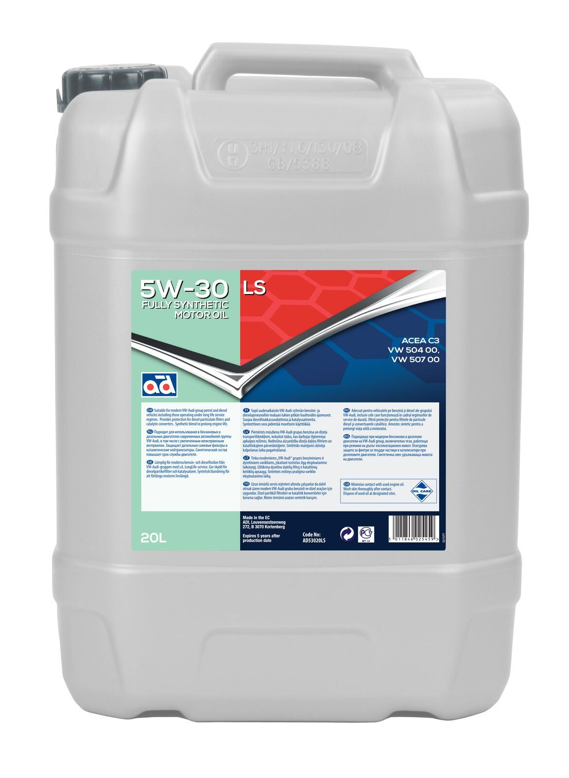 Genuine AD 5W-30 LS Fully Synthetic Motor Oil AD53020LS (20 litres)