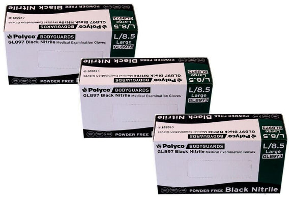 Bodyguard Black Nitrile PF Tatoo Mechanic Disps. Gloves Size Large 3x Box of 100