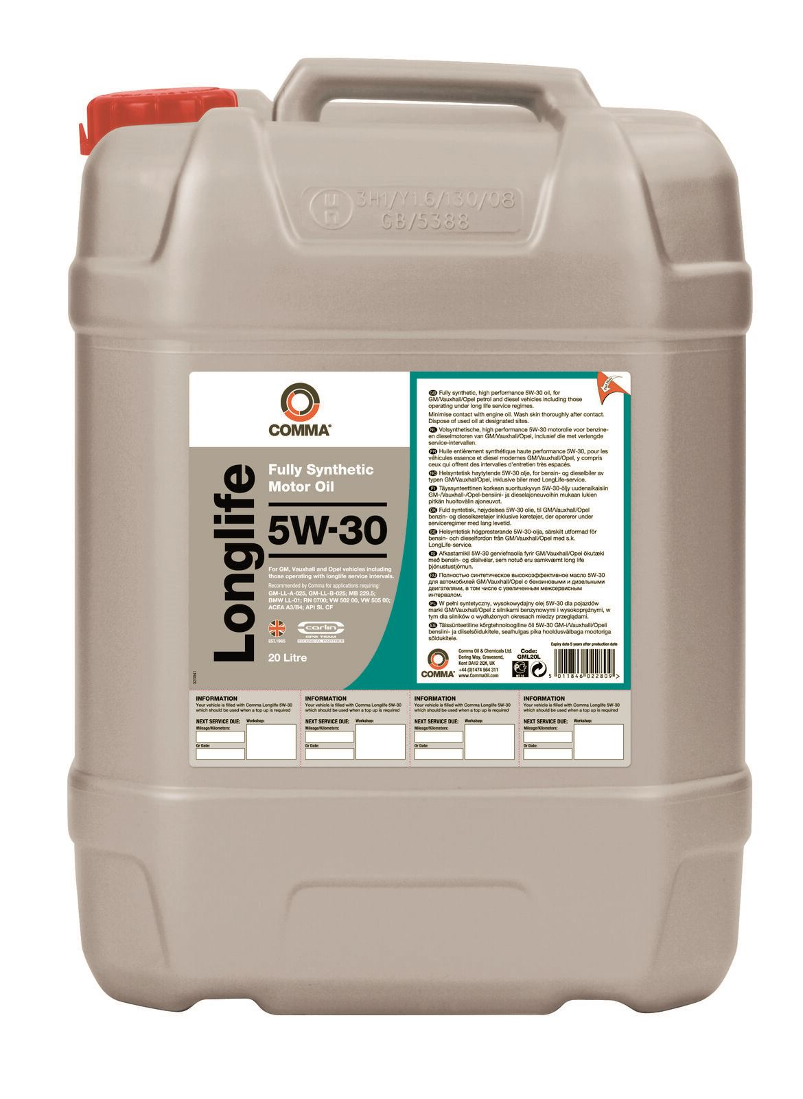 COMMA OILS - Long Life 5W30 Fully synthetic Engine Oil (20 Litres) GML20L