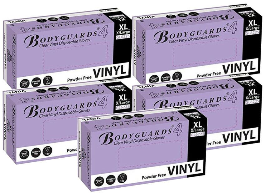 Bodyguards Clear Vinyl PF Dsp. Gloves Medical Cleaning Extra Large 5x Box of 100