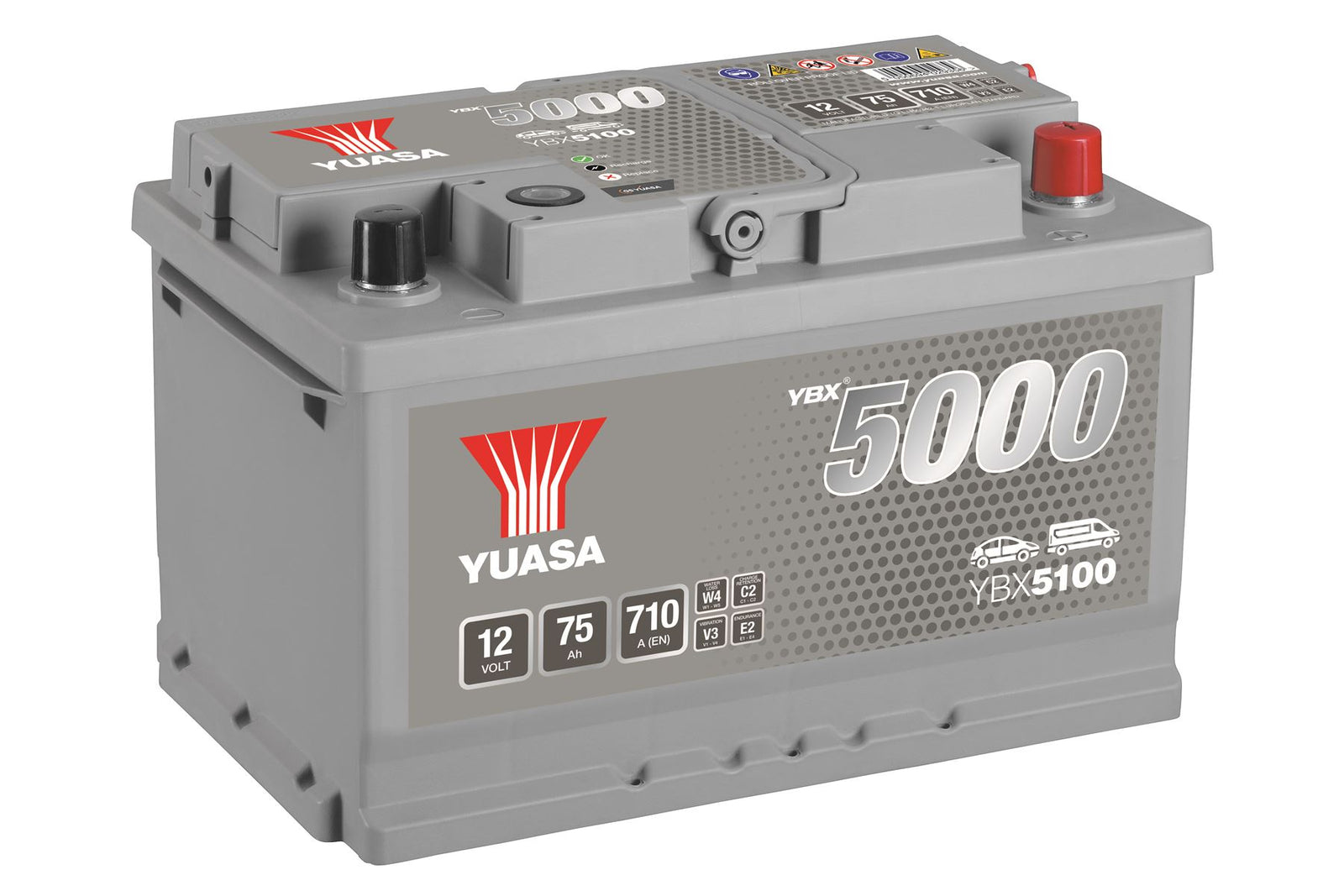 Yuasa YBX5100 Silver High Performance SMF Battery EU DIN