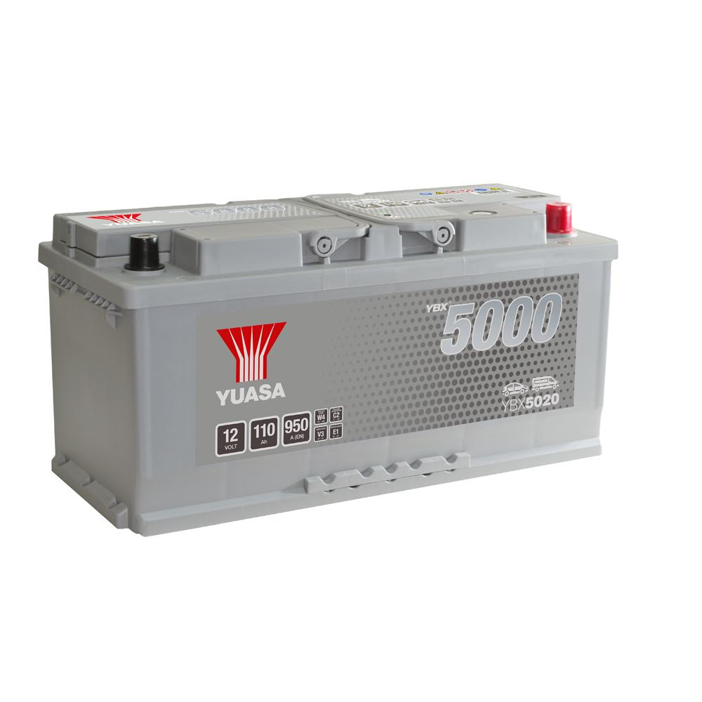 Yuasa YBX5020 Silver High Performance SMF Battery EU DIN