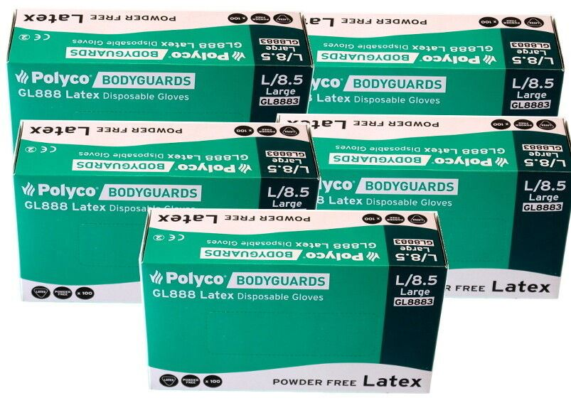 500x Bodyguard GL8883 Latex Gloves Powder Free Disposable Large (5x Box of 100)