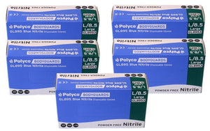 Box of 500 Brand New Bodyguard Blue Nitrile Gloves Size Large (8953)