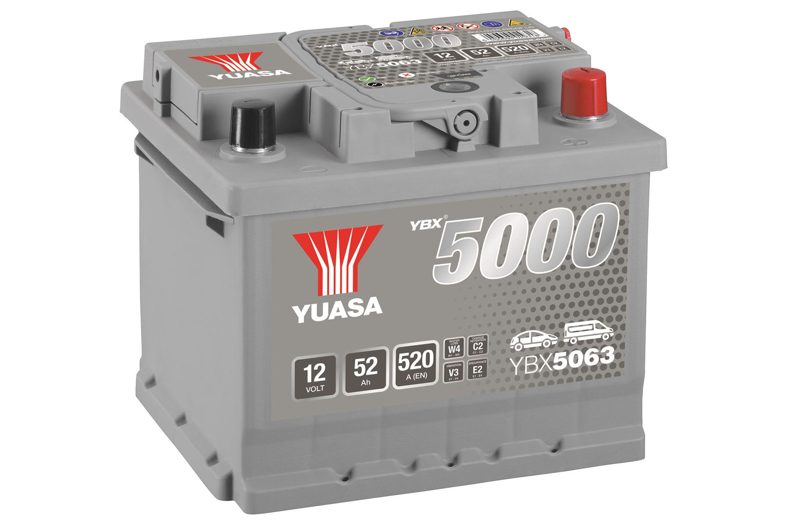 Yuasa YBX5063 Silver High Performance SMF Battery EU DIN