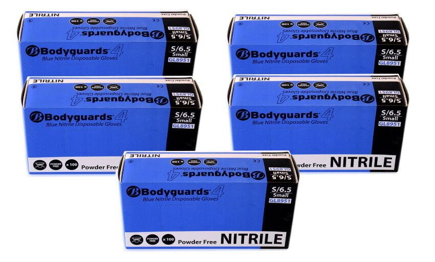 Box of 500 Brand New Bodyguard Blue Nitrile Gloves Size Small (8951)