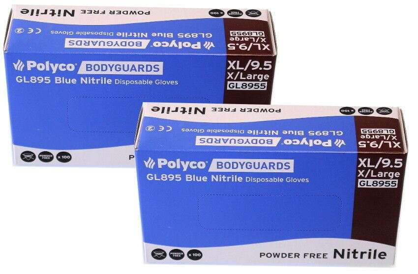 Box of 200 Brand New Bodyguard Blue Nitrile Gloves Size Extra Large (8955)
