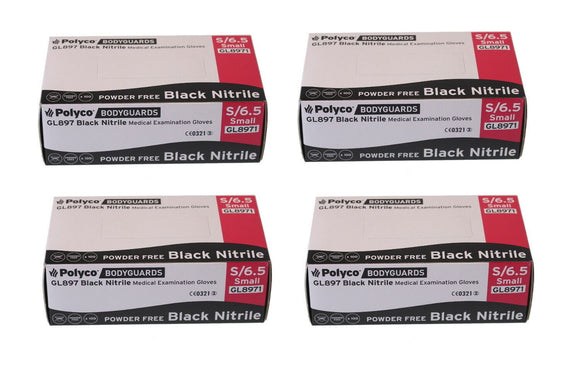 Bodyguard Black Nitrile PF Tatoo Mechanic Disposable Gloves Small 4x Box of 100