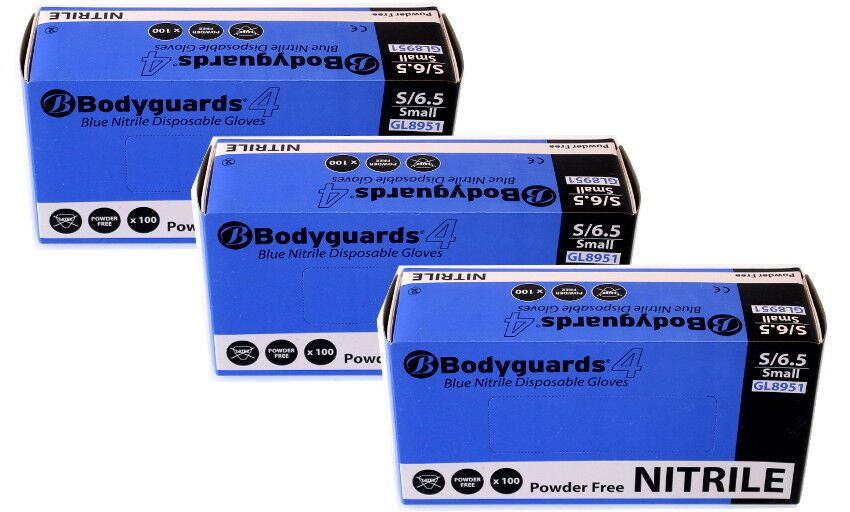 Box of 300 Brand New Bodyguard Blue Nitrile Gloves Size Small (8951)