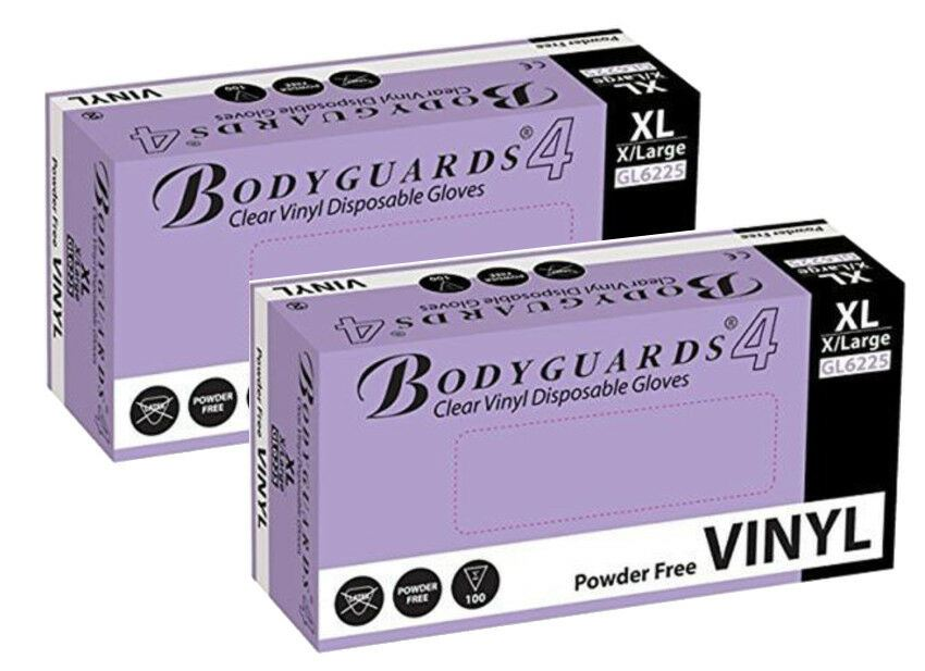 Bodyguards Clear Vinyl PF Dsp. Gloves Medical Cleaning Extra Large 2x Box of 100