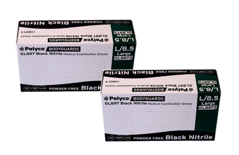 Bodyguard Black Nitrile PF Tatoo Mechanic Disps. Gloves Size Large 2x Box of 100