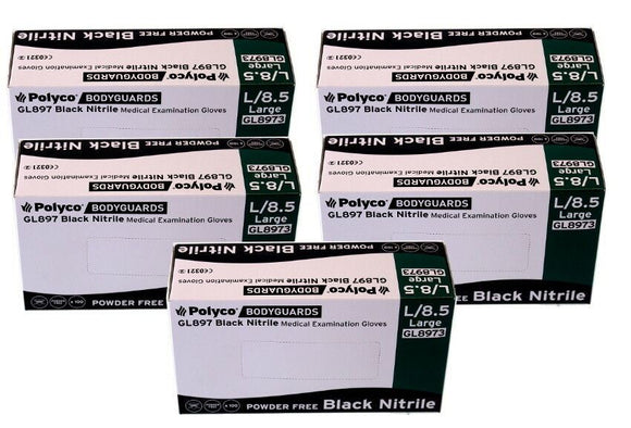Bodyguard Black Nitrile PF Tatoo Mechanic Disps. Gloves Size Large 5x Box of 100