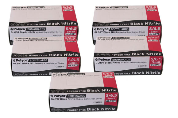 Bodyguard Black Nitrile PF Tatoo Mechanic Disposable Gloves Small 5x Box of 100