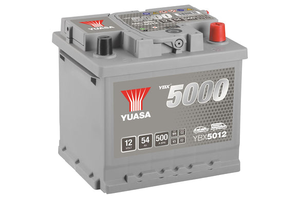 Yuasa YBX5012 Silver High Performance SMF Battery EU DIN