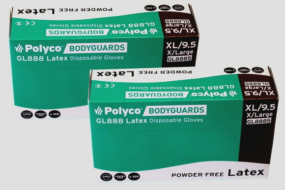 200x Bodyguard GL8885 Latex Gloves Powder Free Disposable X Large 2x Box of 100