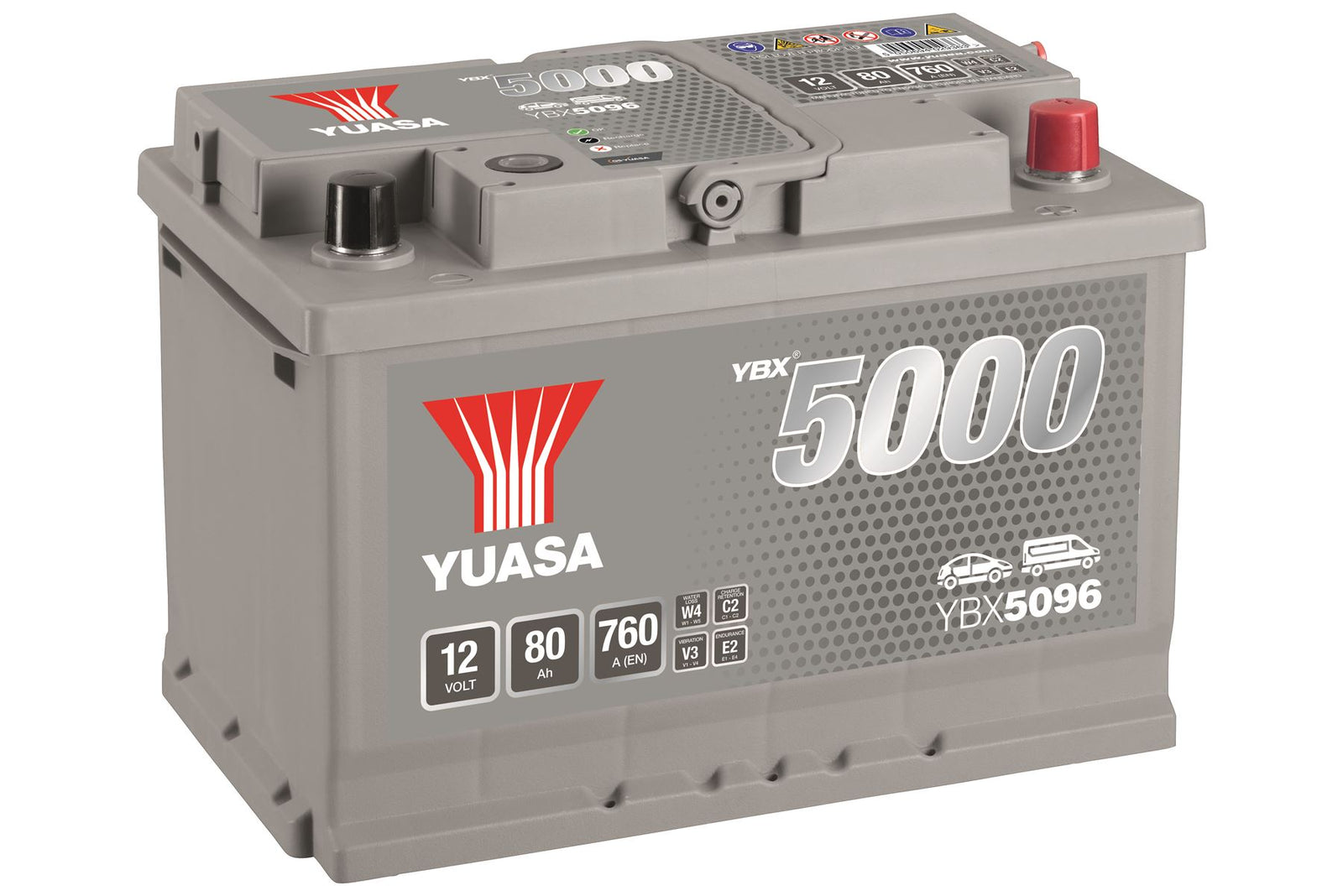 Yuasa YBX5096 Silver High Performance SMF Battery EU DIN