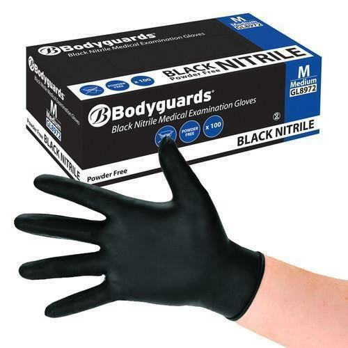 Bodyguard Black Nitrile PF Tatoo Mechanic Disposable Gloves Medium 2x Box of 100