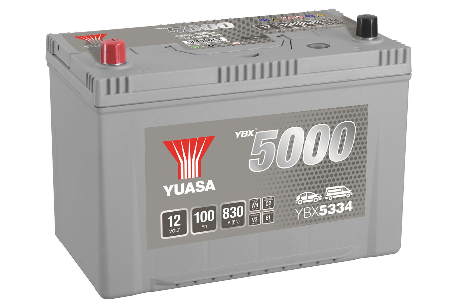 Yuasa YBX5334 Silver High Performance SMF Battery JP/KR JIS