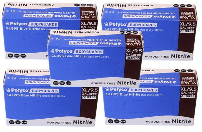 Box of 500 Brand New Bodyguard Blue Nitrile Gloves Size Extra Large (8955)